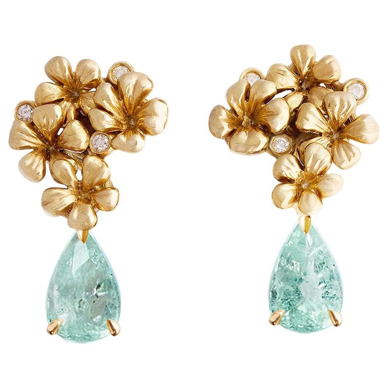 Yellow Gold Cocktail Clip-On Earrings with Diamonds and Paraiba Tourmalines For Sale