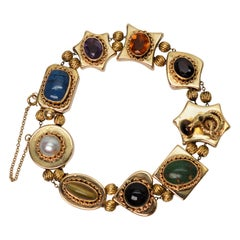 Yellow Gold Color Gemstone Charm Bracelet