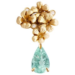 Yellow Gold Contemporary Brooch with Diamonds and Paraiba Tourmaline