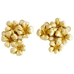 Yellow Gold Contemporary Clip-On Earrings by the Artist with Diamonds