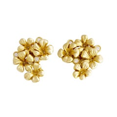 Yellow Gold Contemporary Clip-On Earrings by the Artist with Round Diamonds