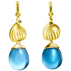 Yellow Gold Contemporary Cocktail Earrings with Blue Topazes and Diamonds