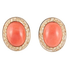 Yellow Gold Coral Clip Earrings