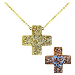 DIAMOND LOVE  Natural Diamond Gold Cross Pendant