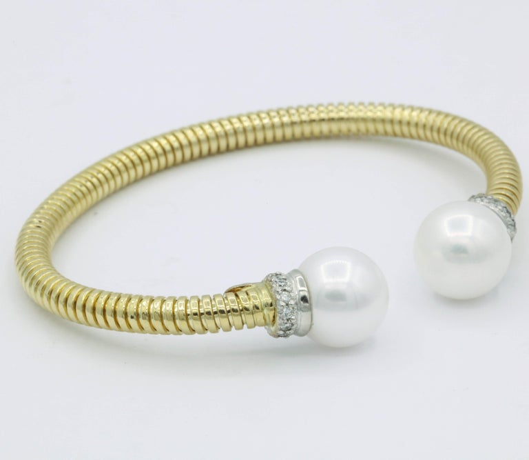 Contemporary Yellow Gold Cuff Bangle Bracelet with Freshwater Cultured Pearls and Diamonds For Sale