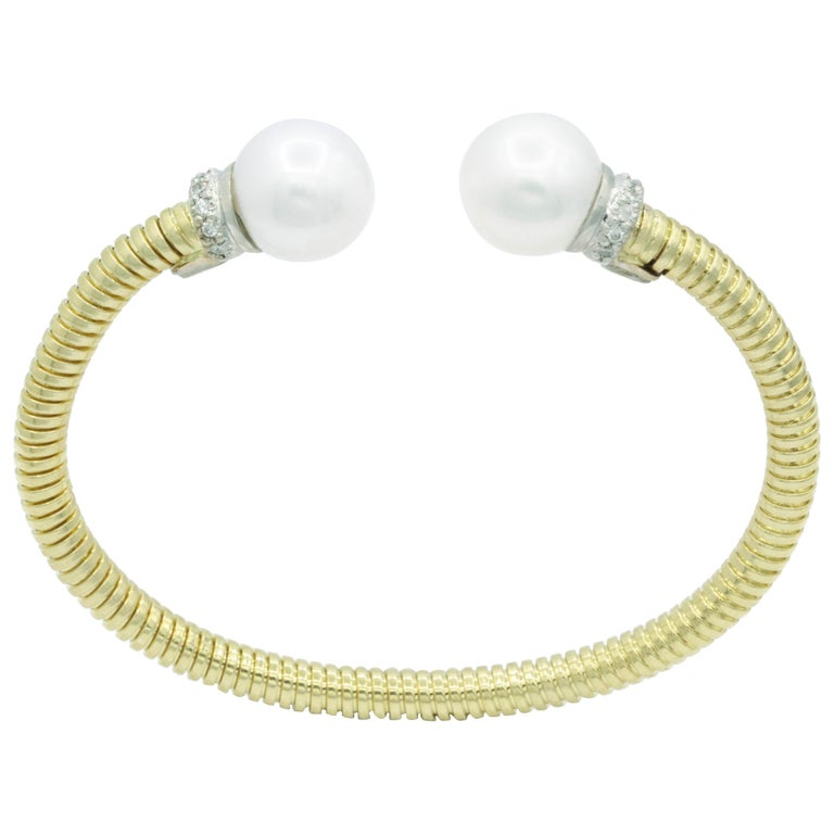 Yellow Gold Cuff Bangle Bracelet with Freshwater Cultured Pearls and Diamonds For Sale