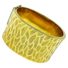 Yellow Gold Cuff Bangle Bracelets