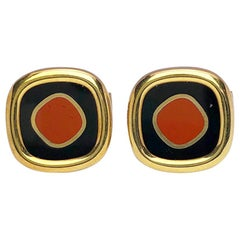 Yellow Gold Cufflinks with Jasper and Black Onyx