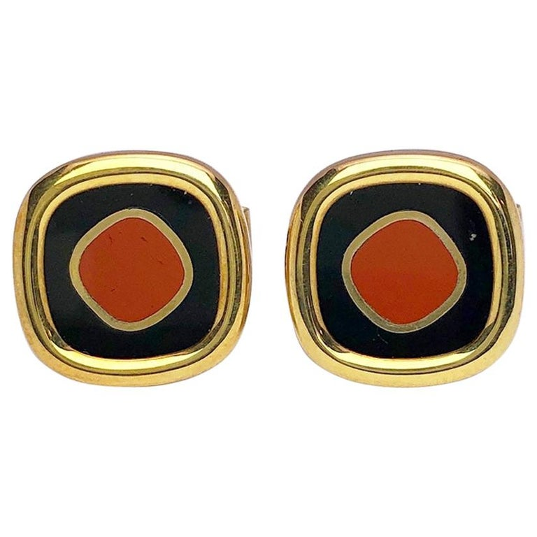 Yellow Gold Cufflinks with Jasper and Black Onyx For Sale