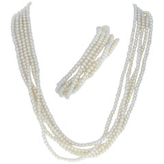 Yellow Gold Cultured Pearl Bracelet and Necklace Set, 14k Five-Strand Toggle