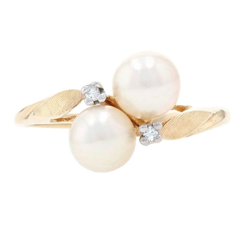 Yellow Gold Cultured Pearl & Diamond Bypass Ring, 14k Leaf Design