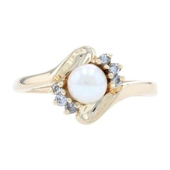 Yellow Gold Cultured Pearl & Diamond Bypass Ring, 14k Round Brilliant Cut