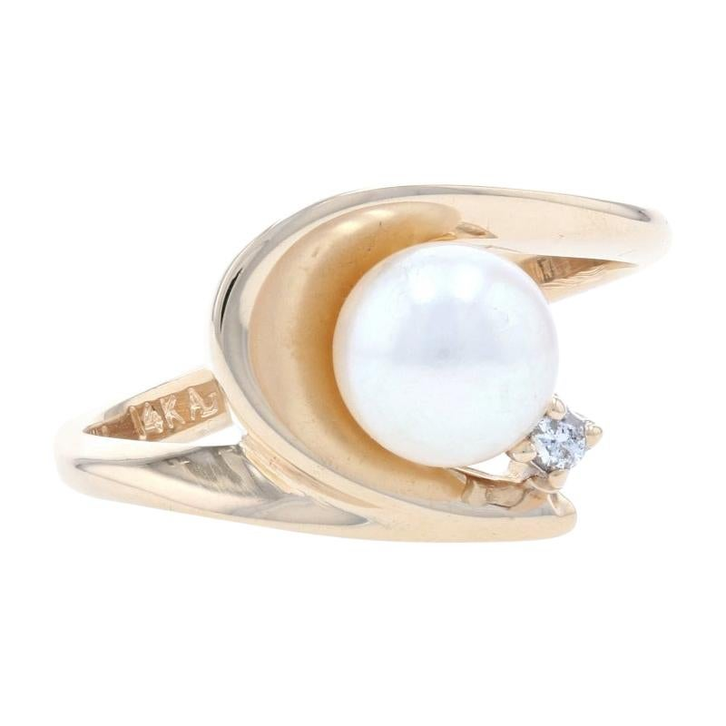 Yellow Gold Cultured Pearl & Diamond Bypass Ring - 14k Round