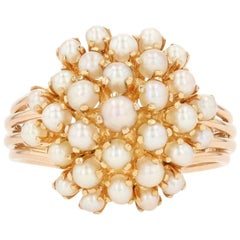 Yellow Gold Cultured Pearl Floral Cluster Cocktail Ring, 18 Karat
