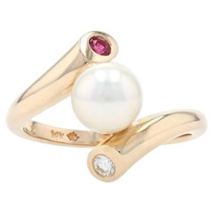 Yellow Gold Cultured Pearl, Ruby, & Diamond Bypass Ring, 14k Round .18ctw