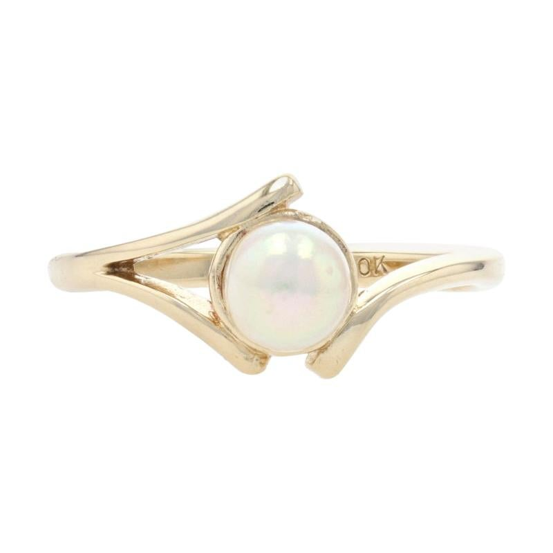 Yellow Gold Cultured Pearl Solitaire Bypass Ring, 10k