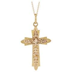 Yellow Gold Custom Made Cross Pendant Necklace