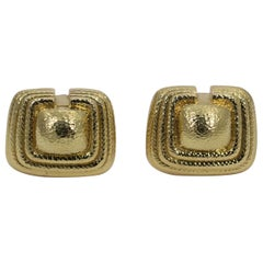 Yellow Gold David Webb Earrings of Classical Design with Hammered Finish