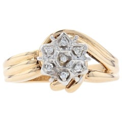 Yellow Gold Diamond-Accented Cluster Halo Flower Ring, 10k Round Brilliant