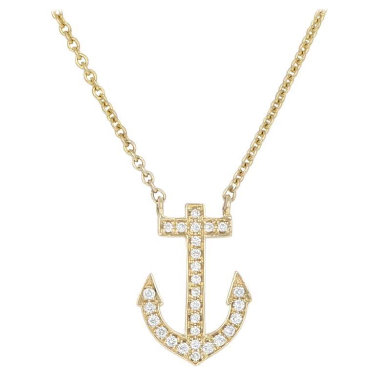 Yellow Gold Diamond Anchor Necklace, 14k Round Brilliant Cut .20ctw Adjustable