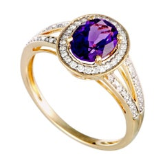 Yellow Gold Diamond and Amethyst Oval Ring