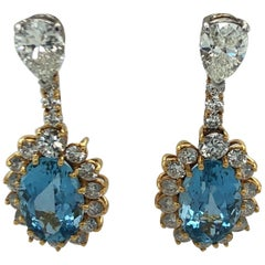 Yellow Gold Diamond and Aquamarine Earrings