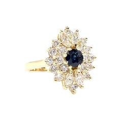 Yellow Gold Diamond and Blue Sapphire Cluster Ring