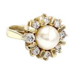 Yellow Gold, Diamond and Cultured Pearl Ring