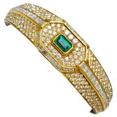 Yellow Gold Diamond and Emerald Bangle