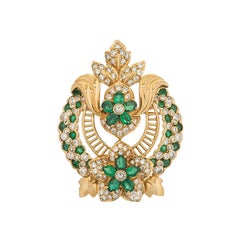 Yellow Gold Diamond and Emerald Floral Pendant Brooch