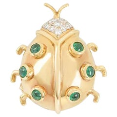Yellow Gold Diamond and Emerald Ladybird Brooch