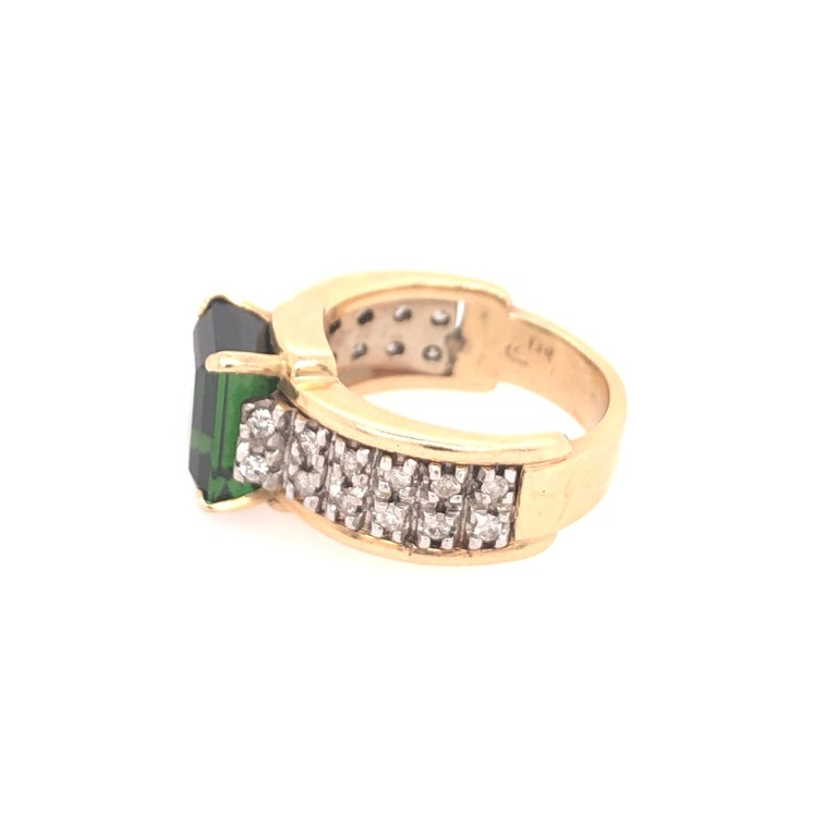 Emerald Cut Yellow Gold Diamond and Green Tourmaline Ring For Sale