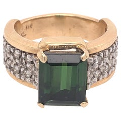 Yellow Gold Diamond and Green Tourmaline Ring