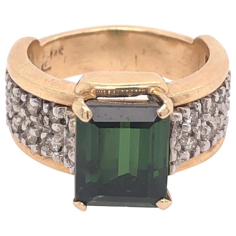 Yellow Gold Diamond and Green Tourmaline Ring For Sale