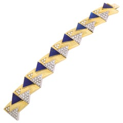 Yellow Gold Diamond and Lapis Bracelet