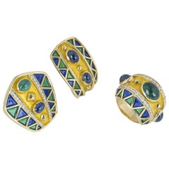 Yellow Gold Diamond and Multi-Gem, Emerald and Sapphire Earrings and Ring Set