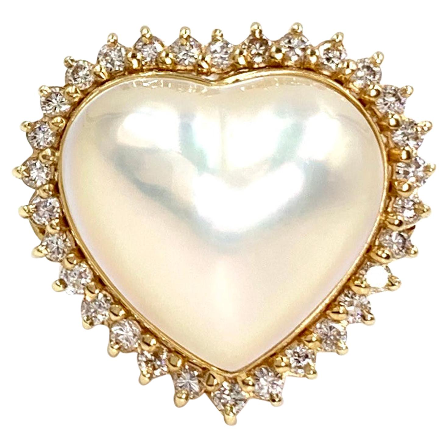 Yellow Gold Diamond and Pearl Large Heart Ring