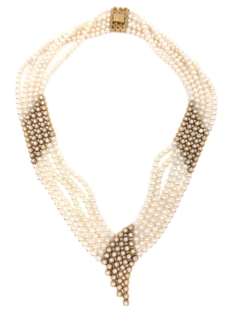 Round Cut Yellow Gold Diamond and Pearl Multi-Strand Necklace For Sale