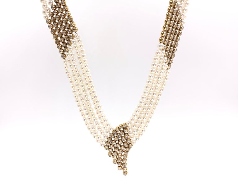 Women's Yellow Gold Diamond and Pearl Multi-Strand Necklace For Sale