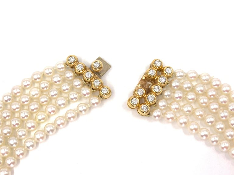 Yellow Gold Diamond and Pearl Multi-Strand Necklace For Sale 1