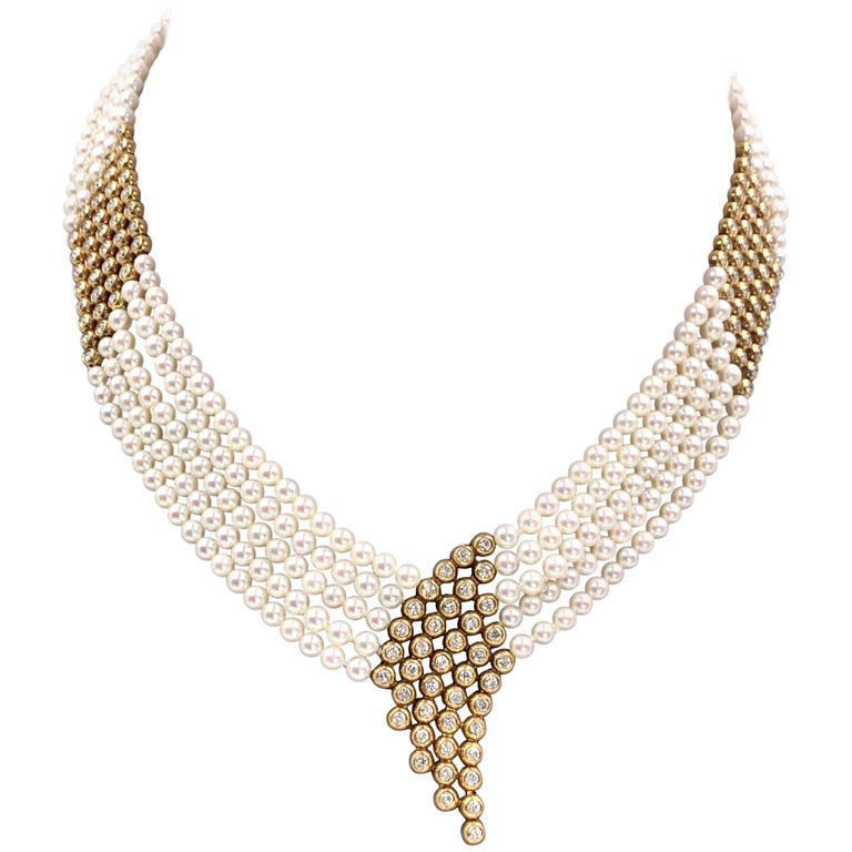 Yellow Gold Diamond and Pearl Multi-Strand Necklace For Sale