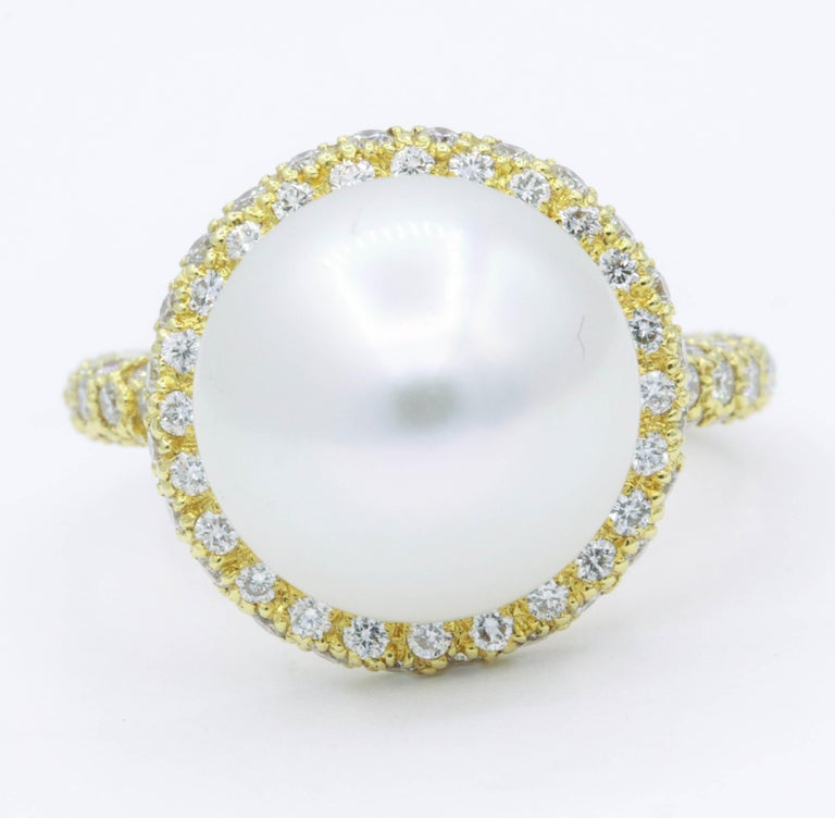 Contemporary Yellow Gold Diamond and Pearl Ring, 1.57 Carat For Sale
