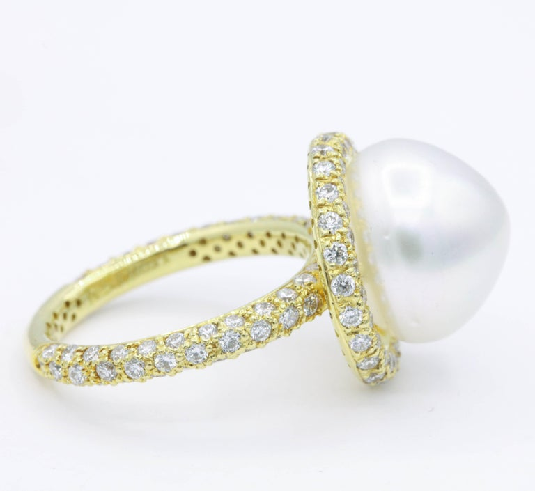Round Cut Yellow Gold Diamond and Pearl Ring, 1.57 Carat For Sale