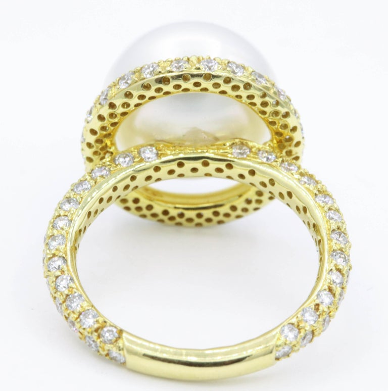 Yellow Gold Diamond and Pearl Ring, 1.57 Carat In New Condition For Sale In New York, NY