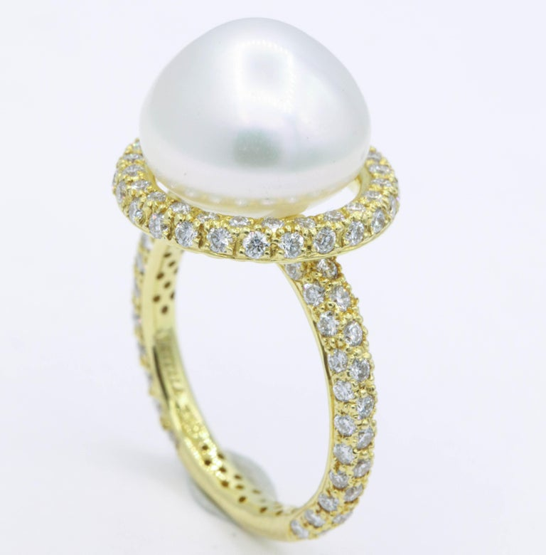 Women's Yellow Gold Diamond and Pearl Ring, 1.57 Carat For Sale
