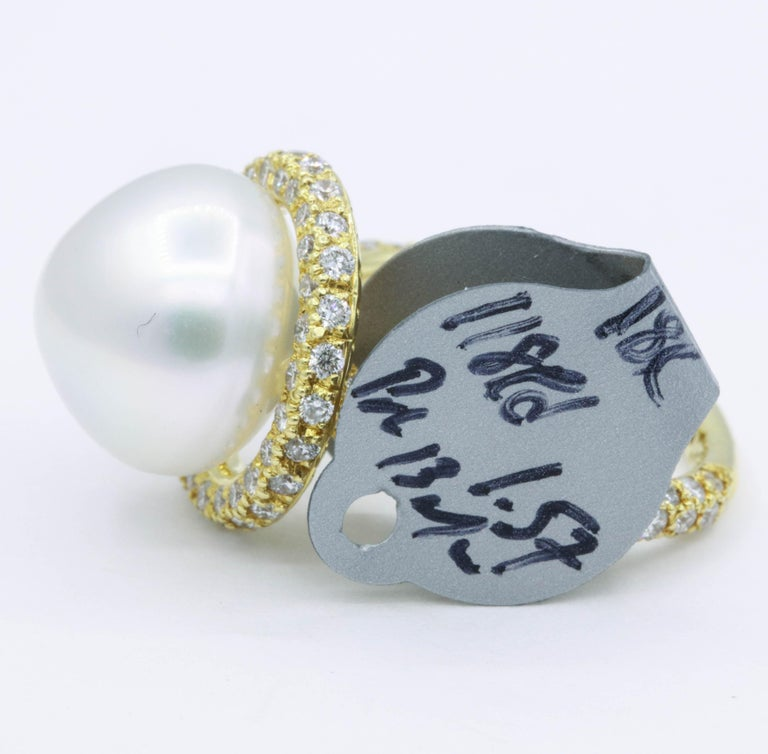 Yellow Gold Diamond and Pearl Ring, 1.57 Carat For Sale 1