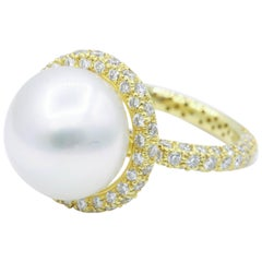 Yellow Gold Diamond and Pearl Ring, 1.57 Carat