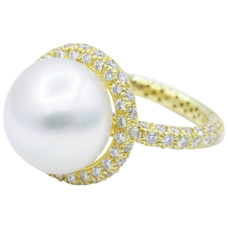 Yellow Gold Diamond and Pearl Ring, 1.57 Carat For Sale