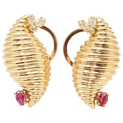 Yellow Gold Diamond and Ruby Scroll Earrings