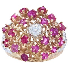 Yellow Gold Diamond and Ruby Vintage Cluster Cocktail Ring, 14k Mine Cut 3.18ctw